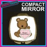 HAPPY ANNIVERSARY COMPACT LADIES METAL HANDBAG GIFT MIRROR